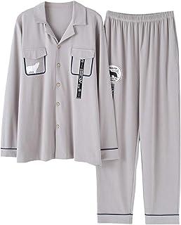 WXIK パジャマ メンズ 秋冬 長袖+長パンツ 上下セット 前開き シャツ風 ポケット付き シンプル 快適 柔らかい 通気吸汗 睡眠科学 ネグリジェ ルームウェア ナイトウェア 便利服 部屋着 男性 グレー L-XXXL