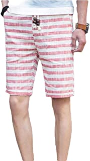 omniscient Men's Drawstring Waist Stripe Swim Trunks Quick Dry Casual Swim Short