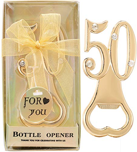 Set of 12 Creative Bottle Openers for 50th Birthday Party Favors or 50th Wedding Anniversary Party Gifts 50 Birthday Party Favors Souvenirs Decorations for Guests (12, Gold 50th)
