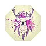 InterestPrint Deer with Dream Catcher Windproof Automatic Open and Close Folding Umbrella,Watercolor Painting Travel Lightweight Outdoor Umbrella Rain and Sun