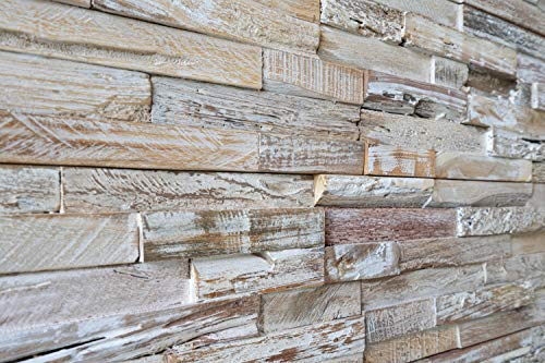 WoodyWalls 3D Reclaimed Barn Wood Wall Panels | DIY Glue and Nails Installation | Premium Set of 10 Panels (9.5 sq. ft. per Box) Weathered White