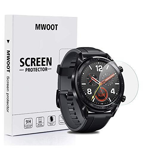 MWOOT 4 Stück Schutzfolie aus Panzerglas für Huawei Watch GT, 9H Festigkeit Kratzfest Schutzglas für Huawei Watch GT (Active) Bildschirmschutz