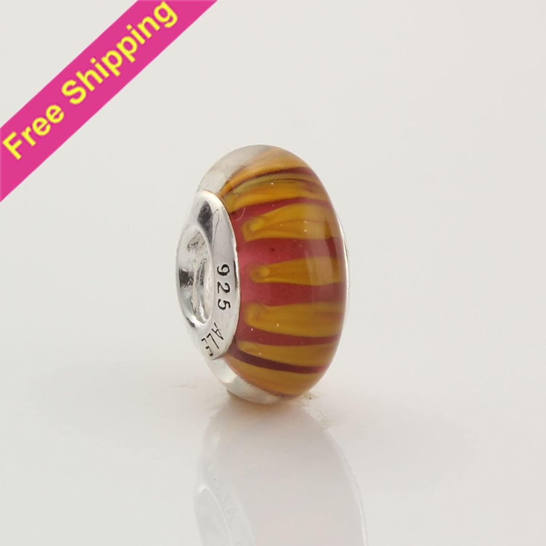 KDESIGN 14mm Red Yellow Petals 925 Silver Murano Inner Flower Lampwork Glass Beads Fit European Charm Bracelets 49117