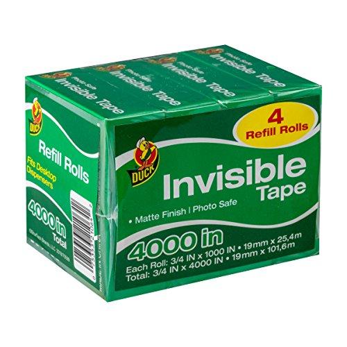 Duck Brand Matte Finish Cinta invisible: 3/4 in. x 1000 in. (Claro) / 4-paquete