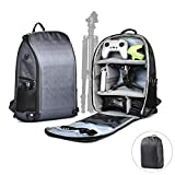 O'woda FPV Drone Waterproof Carring Backpack with Anti-Theft Protective Rain Cover, Large Capacity Traveling Storage Bag High-Density Nylon Backpack for DJI FPV/Mini 2/Mavic Air 2/Camera Tripod (Gray)
