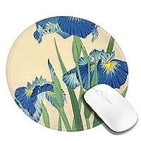 蘭の絵 マウスパッド 丸型 20cm 滑り止め 防水 おしゃれ 洗える ビジネス用 家庭用 ゲーム用