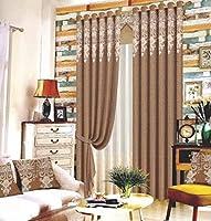 家庭用品寝室ジャカードカーテン付きリビングルームカーテンカーテン付きヨーロッパの家庭用刺繡140cmx245cm(幅x高さ)2パネルコーヒーカラー