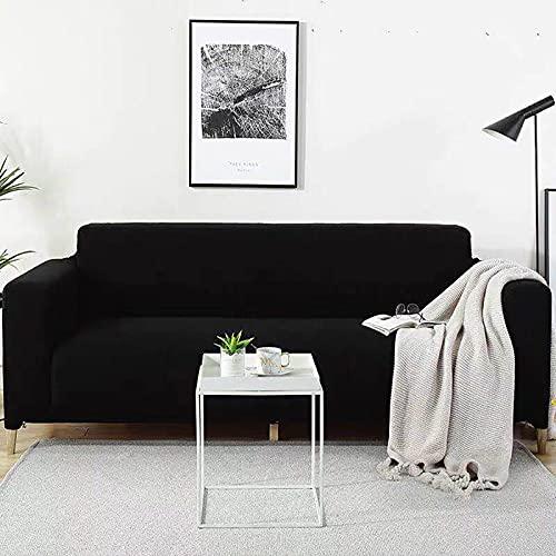 LT&NT 1-Pieza Fundas De Sofá para 2 Cushion Couch,De Punto Jacquard Sofá Funda De Sofá Funda De Sofá,Antideslizante Suave Funda Cubre Sofá Protector De Sofá Lavable-Negro L