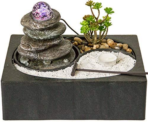 Nativ Zimmerbrunnen mit Zen-Garten, Brunnen mit LED-Beleuchtung, asiatischer Tischbrunnen mit Zengarten, Indoor-Brunnen