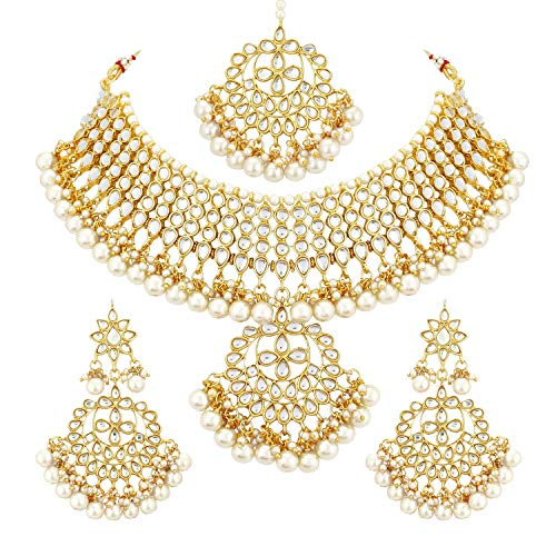 Aheli Kundan Pearls Designer Necklace Earrings Maang Tikka Set Indian Traditional Ethnic Engagement Wedding Party Wear Jewelry for Women