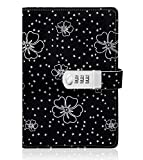 Floral Journal with Lock, A5 Size PU Leather Combination Lock Diary