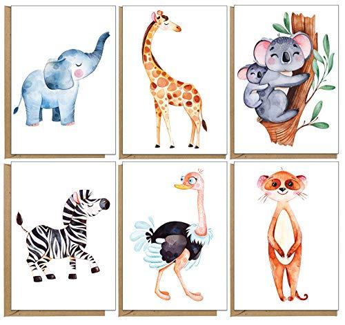 Grußkarten mit Tiermotiven, umweltfreundlich, unbedruckt, 48 Stück…
