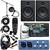"Presonus AudioBox 96 Audio Interface Full Studio Bundle with Studio One Artist Software Pack w/Eris 4.5 Pair Studio Monitors and 1/4"" TRS to TRS Instrument Cable"
