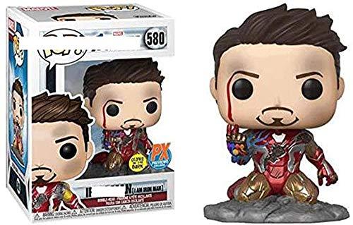 A-Generic Pop Iron Man Tony Stark Vinilo Figura Coleccionable muñeca de Juguete Mano Modelo de Oficina Adornos Multicolor-UNA