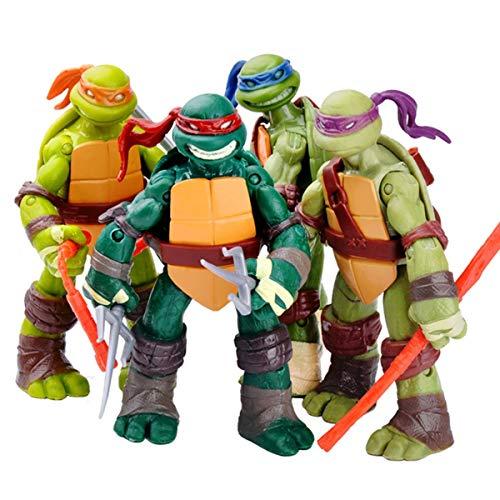Tortugas Ninja Figuras Juguetes Set 4 Modelo Juguetes con Movable Articulaciones, Anime Juguetes Tortugas Ninja de Figuras de Acción Colección de CumpleañosNinja Turtles Figures