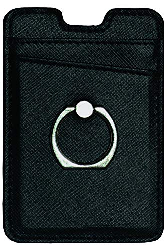 COBALTX Leather Phone Ring Wallet with Matching Magnetic CAR Mount All in ONE Combo Set (Black)