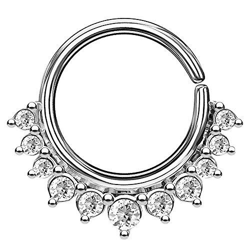 Piercingfaktor Piercing Continuous Vintage Kristall Ring Ohr Nase Lippe Brust Intim Septum Helix Hufeisen Horseshoe Silber