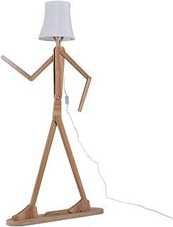 Lampadaires Lampadaire contemporain en bois moderne avec abat-jour en tissu blanc réglable hauteur réglable Lampes sur pie...