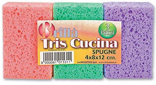 Briancasa Tris Cucina 4x8x12 3 Pezzi Spugna, Multicolore