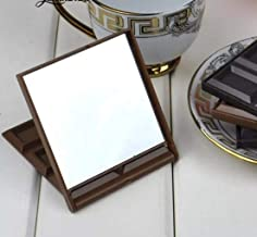 1 Pcs New Foldable Lovely Mini Makeup Mirror Chocolate Cookie Shaped Square Pocket Mirror Glass For Women Girl (7.5CMX8.5CM, dark coffee)
