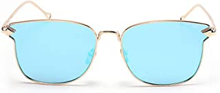 Classic Metal Frame UV Protection Sunglasses for Women Men Colored Lens Outdoor Driving Travelling. (Color : Blue)