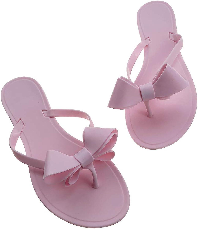 shoes'N Tale Women Ribbon Bow Sandals Flip Flops Narrow Strap