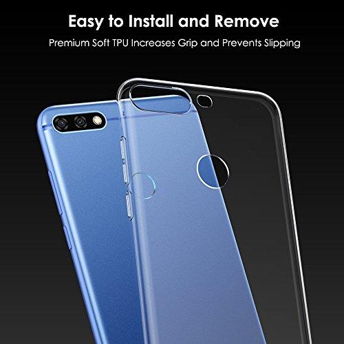 Peakally Huawei Honor 7C / Huawei Y7 Prime 2018 / Huawei Y7 2018 Hülle, Soft TPU Transparent Hüllen [Kratzfest] [Anti Slip] Durchsichtige Schutzhülle Case Weiche Handyhülle für Honor 7C 5.99