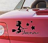 tjapalo pka4 Namensaufkleber Autoaufkleber namen Aufkleber Auto Aufkleber Name heckscheibenaufkleber süße Hexe mit Sternen und Name (B15 x H9 cm)
