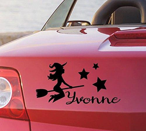 tjapalo® pka4 Namensaufkleber Autoaufkleber namen Aufkleber Auto Aufkleber Name heckscheibenaufkleber süße Hexe mit Sternen und Name (B29 x H18 (TOP))