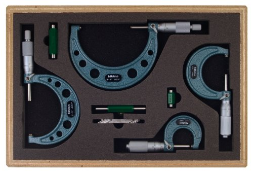 "Mitutoyo 103-931 Outside Micrometer Set with Standards, 0-4"" Range, 0.0001"" Graduation (4 Piece Set)"