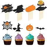 Halloween Cupcake Topper, LANMOK 36pcs Halloween Toothpick Flag...