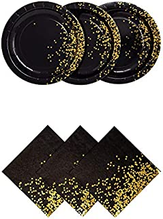 Black and Gold Party Plates and Napkins - Dinner Plates and Napkins Decorative Gold Party Supplies | 3 Ply Napkins and Plates 50 Count | Party Napkins and Plates Used for Weddings Showers and More