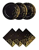 Black and Gold Party Plates and Napkins - Dinner Plates and Napkins Decorative Gold Party Supplies   3 Ply Napkins and Plates 50 Count   Party Napkins and Plates Used for Weddings Showers and More