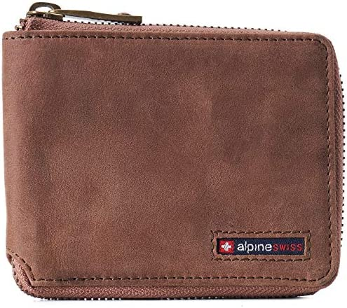 Alpine Swiss Logan Mens RFID Safe Zip Around Wallet Cowhide Leather Zipper Bifold with Gift product image