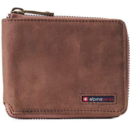 Alpine Swiss Logan Mens RFID Safe Zip Around Wallet Cowhide Leather Zipper Bifold with Gift Box Distressed Brown