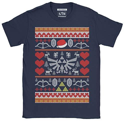 6TN Hombre Camiseta Retrogamer Christmas Hero (L, Azul Marino)