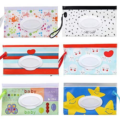 bolsa para toallitas húmedas Fiyuer 6 dispensador de toallitas húmedas bebe bolsas reutilizables para Viajes Bebés respetuosas Medio Ambiente Fáciles de Limpiar
