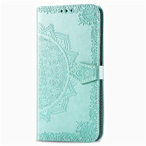 3C Collection Fundas Xiaomi Redmi Note 8 Tapa de Falsa Piel Mandala Verde, Fundas Redmi Note 8 Libro Iman con Tarjetero, Grabado Flores de Funda para Xiaomi Redmi Note 8 Antigolpes Mujer
