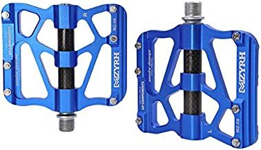 ThinkTop Mountain Bike Pedals Axle 9/16 3 Bearing Platform Pedals Flat Carbon Fiber and Aluminum Sealed Ever Lubricate Bearing for Road BMX MTB Bicycle Cycling,Blue