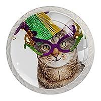 取っ手、キャビネットはドアの机の引出しのためのノブを扱います幸せな猫の面白い写真 クリスタルガラスは4個を扱います
