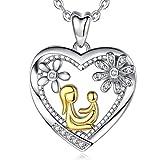 AEONSLOVE Collar Oro Bicolor Plata de ley 925 con CirconitaMamá abraza al niño Flor Corazón Colgante Cadena