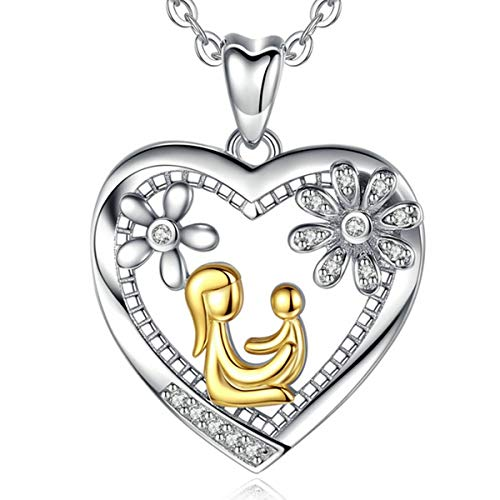 AEONSLOVE Sterling Silver CZ Heart Pendant Necklace Jewelry, Love Between Mom and Baby
