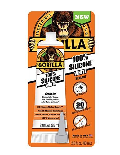Gorilla 8060810 White Tube Silicone Sealant, 1-Pack
