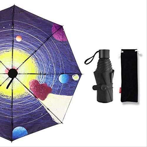 NJSDDB paraplu Gream Meisje Stijl van Schilderen Pocket Mini Paraplu Zonnige of Regenachtige Vrouwen Paraplu Winddichte Harten Geen Bloemen Paraplu, 5 vouwen