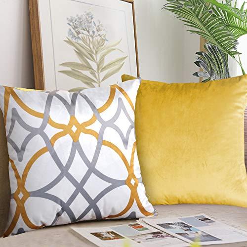 Fundas de cojín de terciopelo original y juego de 2 fundas de almohada decorativas para sala de estar, sofá y cama de H.VERSAILTEX
