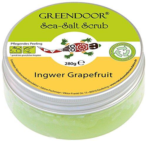 Greendoor Körper-Peeling Sea Salt Scrub Ingwer Grapefruit, Meer-Salz-Peeling ohne Mikroplastik, Duschpeeling ohne Konservierungsmittel, 280g Body Scrub, Sauna Salz Saunasalz, Geschenke Geschenk