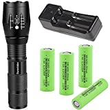 18650 Flashlight 4PCS Flat Top 3.7V 2500mAh 18650 Battery and Charger,Flashlights High Lumens 5 Modes Zoomable Waterproof LED Flashlights for Camping Hiking
