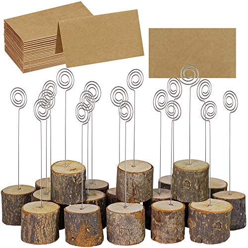 Supla 20 Pcs Rustic Wood Place Card Holders with Swirl Wire Wooden Bark Memo Holder Stand Card Photo Picture Note Clip Holders 5.8' and Kraft Place Cards Bulk for Wedding Party Table Number Name Sign