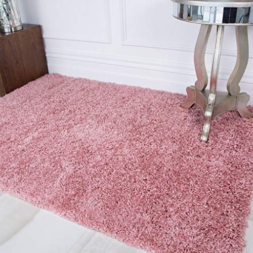 Ontario Blush Pink Purple Soft Warm Thick Touch Easy Clean Living Room Shaggy Area Rugs 80cm x 150cm