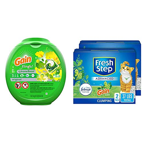 Fresh Step Extreme Scented Litter and Gain flings! Liquid Laundry Detergent Pacs, Original, 81 Count
